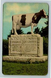 Woodstock ON- Ontario, Springbank Snow Countess, Cow Statue Chrome c1956Postcard
