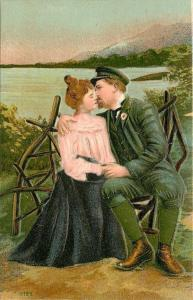 Victorian Couple Embrace~Rustic Wooden Stick Bench~Sea Captain~Ocean~Emb~Germany