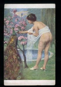 135564 NUDE Woman NYMPH & PEACOCK by PETERS vintage color PC