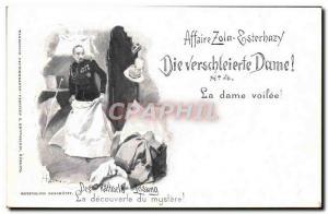 Old Postcard Dreyfus Affair Zola Esterhazy The veiled lady