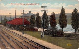 C99/ Amsterdam New York NY Postcard Railroad Depot 1915