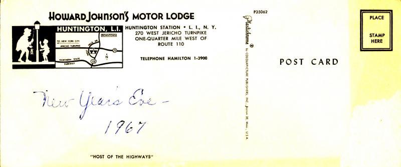 NY - Huntington Station, Long Island. Howard Johnson's Motor Lodge (3.5 X 8....