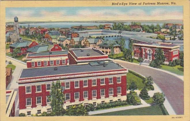 Virginia Fortress Monroe Birds Eye View 1939 Curteich