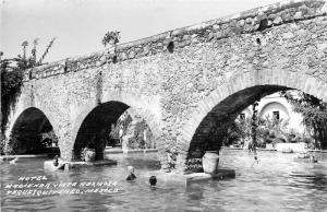 Hotel Hacienda Vista Hermosa, Tequesquirenco Mexico Real Photo Postcard. Bridge