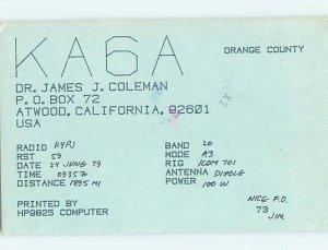 Pre-1980 RADIO CARD - Atwood - Near Anaheim & Santa Ana & Irvine CA AH2119
