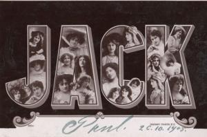 A Boys Mans Named Called JACK Antique Theatre Star Images RPC Name Postcard