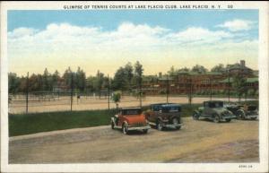 Lake Placid NY Tennis Courts at Club Old Cars c1920s Postcard