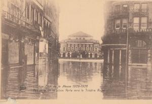 Liege 1925 Flood Weather Theatre Royal Disaster Belgium Antique Postcard