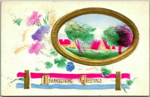 Vintage 1911 THANKSGIVING GREETINGS Embossed Postcard - Air-Brushed Hand-Colored
