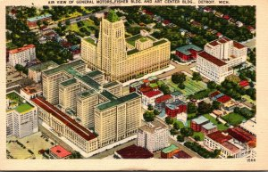 Michigan Detroit Aerial View Of General Motors Fisher Building and Art Center...