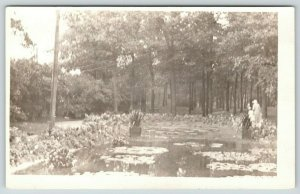 St Paul Minnesota~Como Park~Lily Pond~Lady on Shore~c1910 RPPC