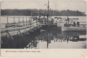 Ohio Postcard c1910 CANTON Meyers Lake Boat Landing Crowd
