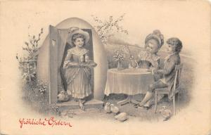 J Kranzle Easter~Fantasy Lady in Egg Shell House~Serves Guests~Austria~BKWI 4111