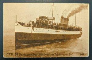 Ungebraucht Vintage CRP Ss Prinzessin Charlotte Leaving Vancouver BC Kanada RPPC