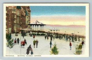 Quebec Canada, Patinage Skating, Linen Postcard
