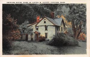 Orchard House, Home of Louisa May Alcott, Concord, MA, Early Postcard, unused