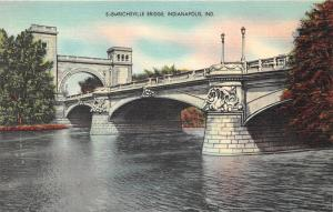 Indianapolis Indiana~Emrichsville Bridge on White River~1940s Postcard