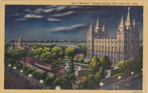 Utah Salt Lake City Mormon Temple Square At Night Curteich
