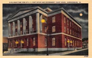 USA Night-Time View of U.S. Post Office and Government Court House, Harrisonburg
