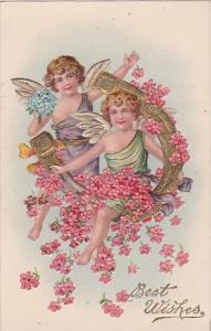 Embossed Best Wishes Young Angel With Gold Horseshoes