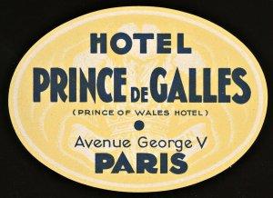 France Hotel PRINCE DE GALLES Vintage Luggage Label 4 1/2 X 3 1/4