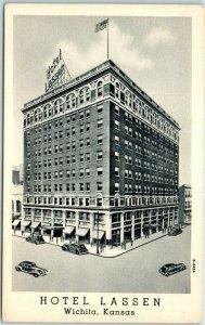 Wichita, Kansas Postcard HOTEL LASSEN Street View Curteich Linen c1940s Unused