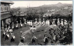 ISE, JAPAN  Handcolored   GARDEN OF GONIKWAI HOTEL  Dancers  Postcard