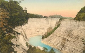 Hand-Colored Postcard 28. Canyon below Glen Iris, Letchwork State Park NY