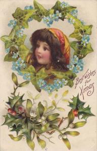 Best Wishes for Xmas, Insert of girl blue flowers frame, mistletoe and holly,...