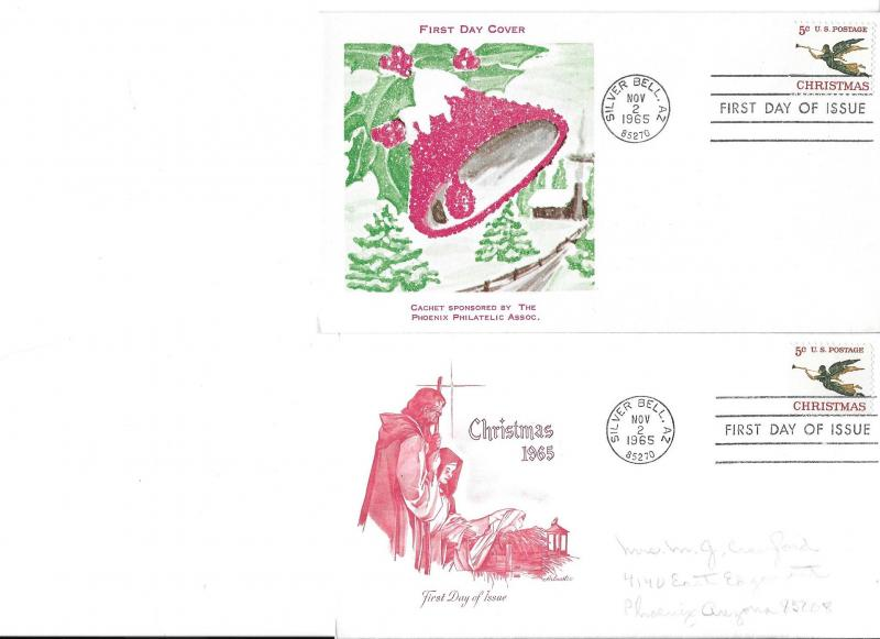 Two Christmas 1965 First Day Covers Silver Bell Arizona