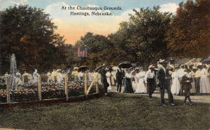 Hastings Nebraska~Chautauqua Grounds~Victorian Couples Stroll Past Fountain~1910