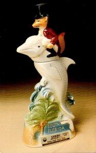 Advertisisng Jim Beam Kentucky Stroight Bourbon Whiskey Fox On A Dolphin Bott...