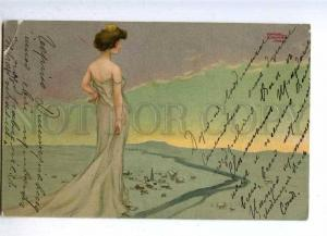 188132 ART NOUVEAU Lady Mount by KIRCHNER Vintage TSN PC