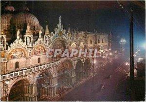 Postcard Modern Venice Basilica of San Marco (night)