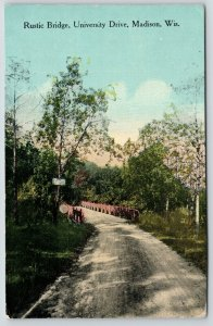 Madison Wisconsin~Dirt Road Crosses Rustic Bridge on University Drive~1913 PC