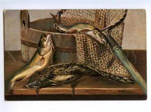 168811 After FISHING Fish on Table by SCHONIAN vintage colorPC