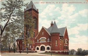 Greensboro North Carolina ME Church West Market Street Antique Postcard J51934