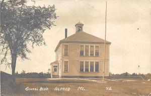 Alfred ME School Building Flagpole Eastern Illustrating RPPC Postcard