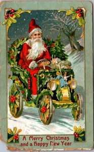 Santa Claus driving 1905-style mistle toe car doll hood ornament toys right-hand
