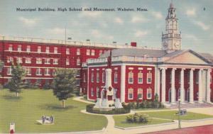 Massachusetts Webster Municipal Building High School and Munument