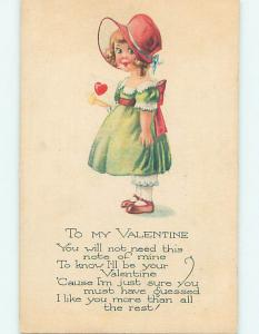 Pre-Linen CUTE GIRL IN GREEN DRESS AND PINK HAT HOLDS VALENTINE CARD HJ2721