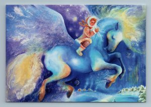 LITTLE GIRL and Winged HORSE Snow Winter Fairy Tale Fantasy Russian New Postcard