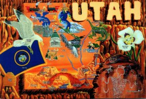 Utah Map With Flag Bird and Flower 1996