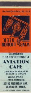 Early Dearborn, Michigan/MI Matchcover, Aviation Cafe