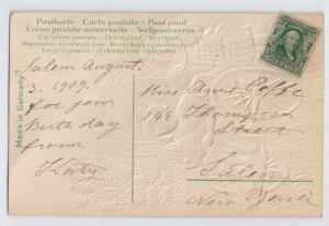 Vintage Postcard Children Applied Silk Dress Cart Embossed