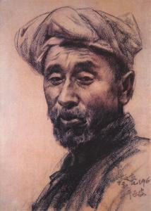 Postcard Art Print THE FARMER IN YANAN by Cai Liang, Chinese Sketch #861