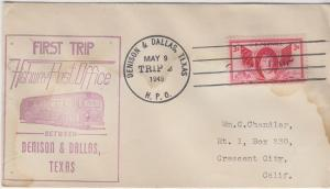 FIRST TRIP HIGHWAY POST OFFICE mail between Denison & Dallas, Texas, 1949
