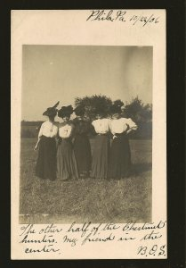 Postmarked 1906 Portrait of 5 Ladies Wearing Hats Real Photo Postcard