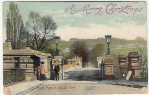 Somerset; North Parade Bridge, Bath, Xmas PPC 1907 PMK, To H Greer, Whitehead
