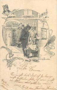 Early 6 December 1900 Saint Nicholas , Krampus devil & children surrealism
